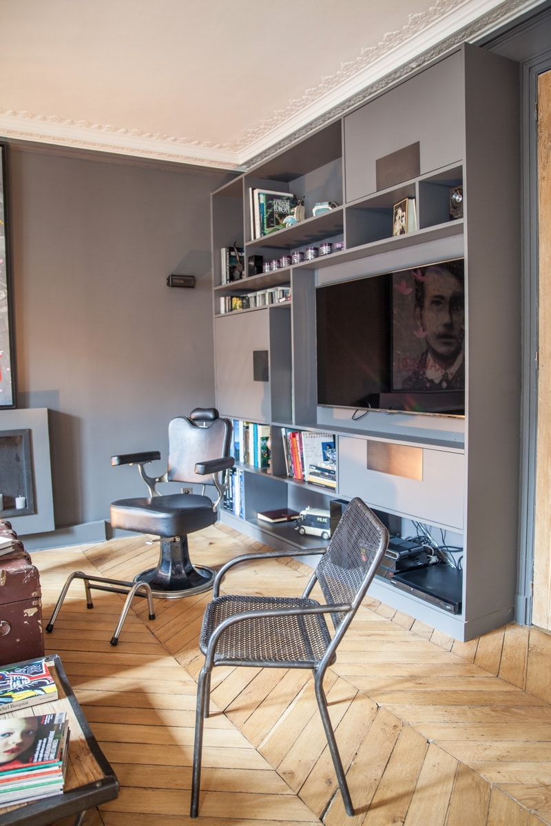Salon TV - bibliothèque