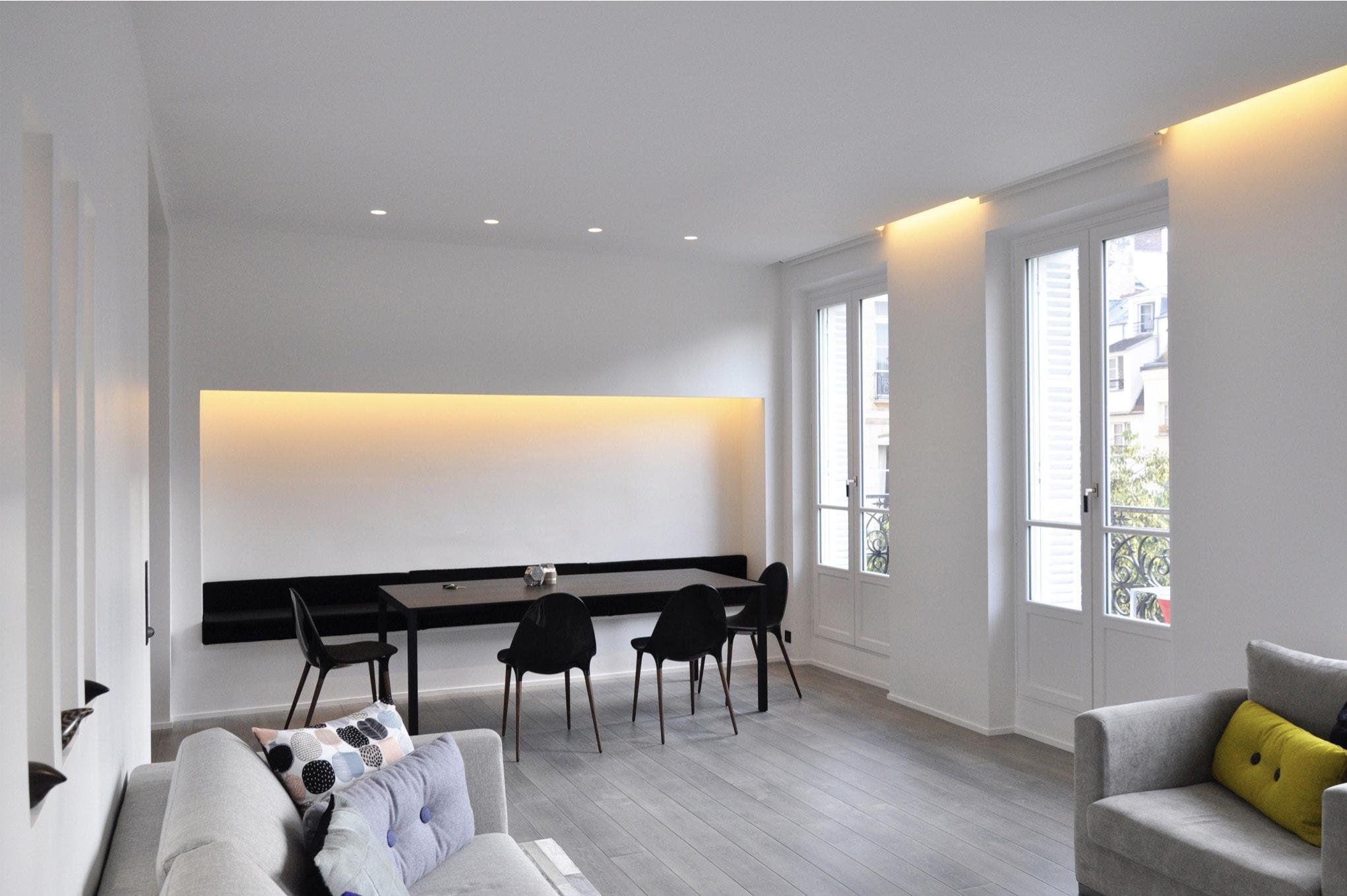 Appartement moderne, vue salon et salle à manger