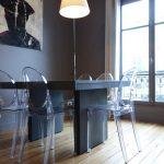 La salle à manger et son parquet rénové