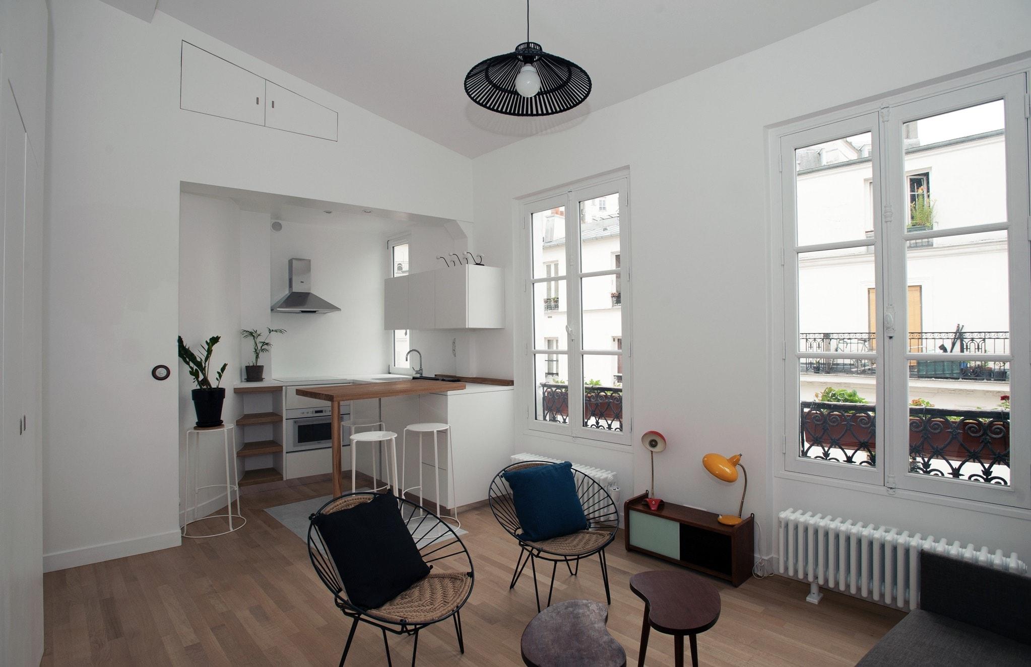 Appartement - studio ; vue salon et cuisine